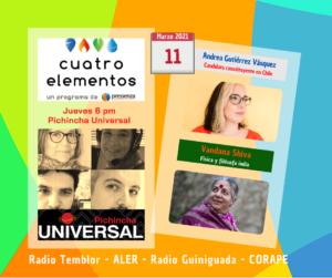 Cuatro Elementos 11/03/2021 8M en perspectiva desde Chile y la India