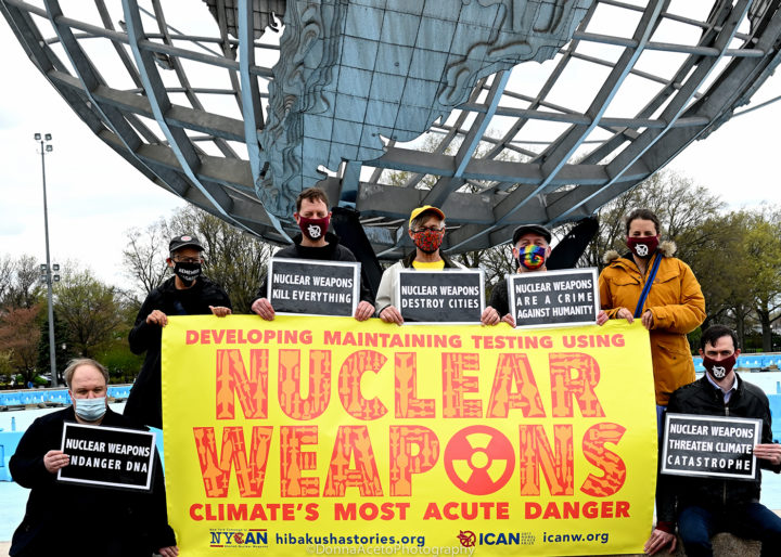 For Earth Day 2021, New Yorkers rally at the iconic Unisphere in Flushing Meadows, Queens and call  for City Council to pass nuclear disarmament legislation  –  Resolution 976 & Introduction 1621