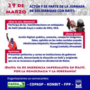 Día Internacional en Solidaridad con el pueblo de Haití: «Enfrentamos un gobierno dirigido por Jovenel Moïse, que es un títere de Washington»