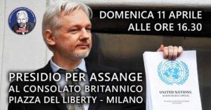 Presidio per Julian Assange domenica 11 aprile alle ore 16.30 a Milano