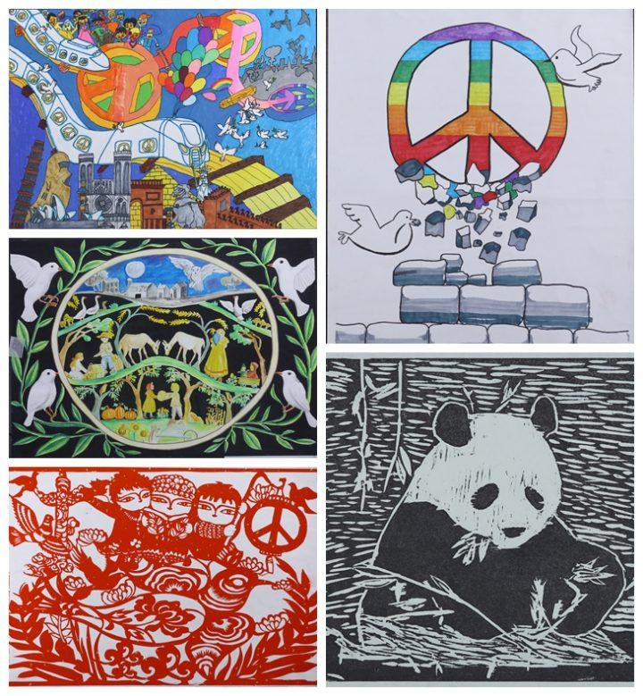 Kinder der Welt rufen zum Frieden auf zum Weltkindertag am 1. Juni
