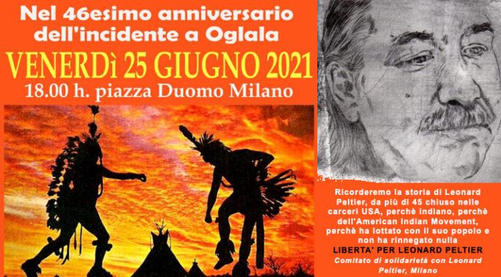 Milano, piazza Duomo: libertà per Leonard Peltier