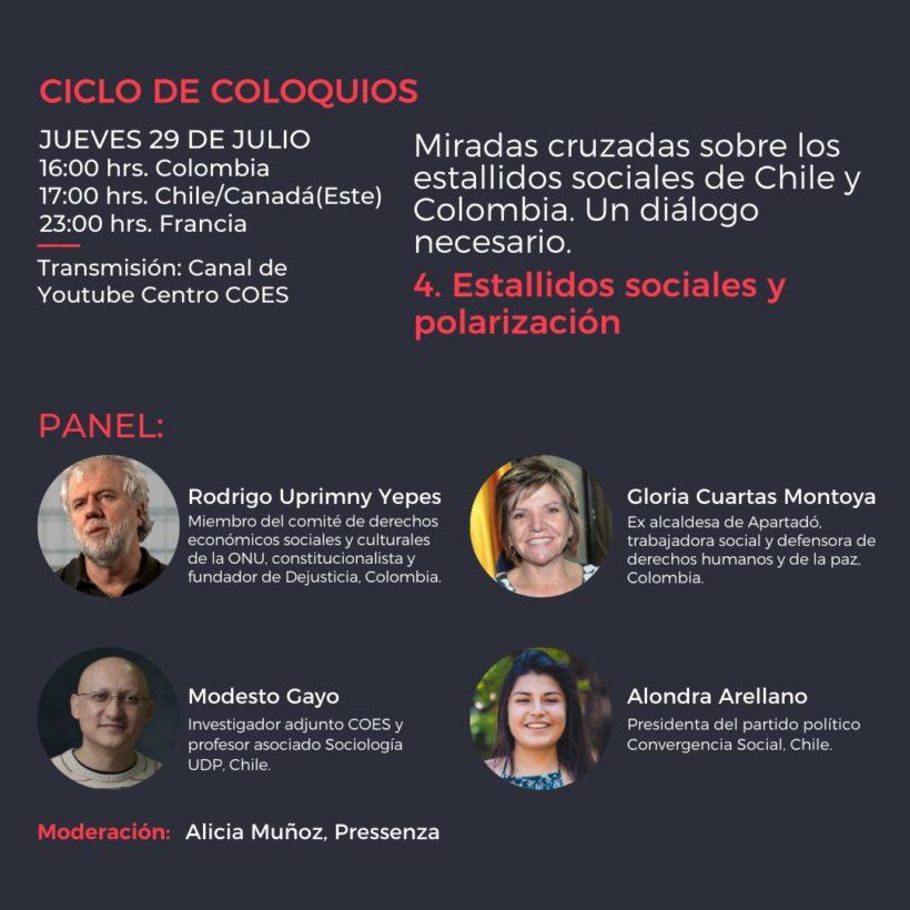 Cuarto panel: miradas cruzadas sobre los estallidos sociales en Chile y Colombia