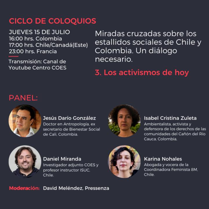 panel: Miradas cruzadas sobre los estallidos sociales en Chile y Colombia