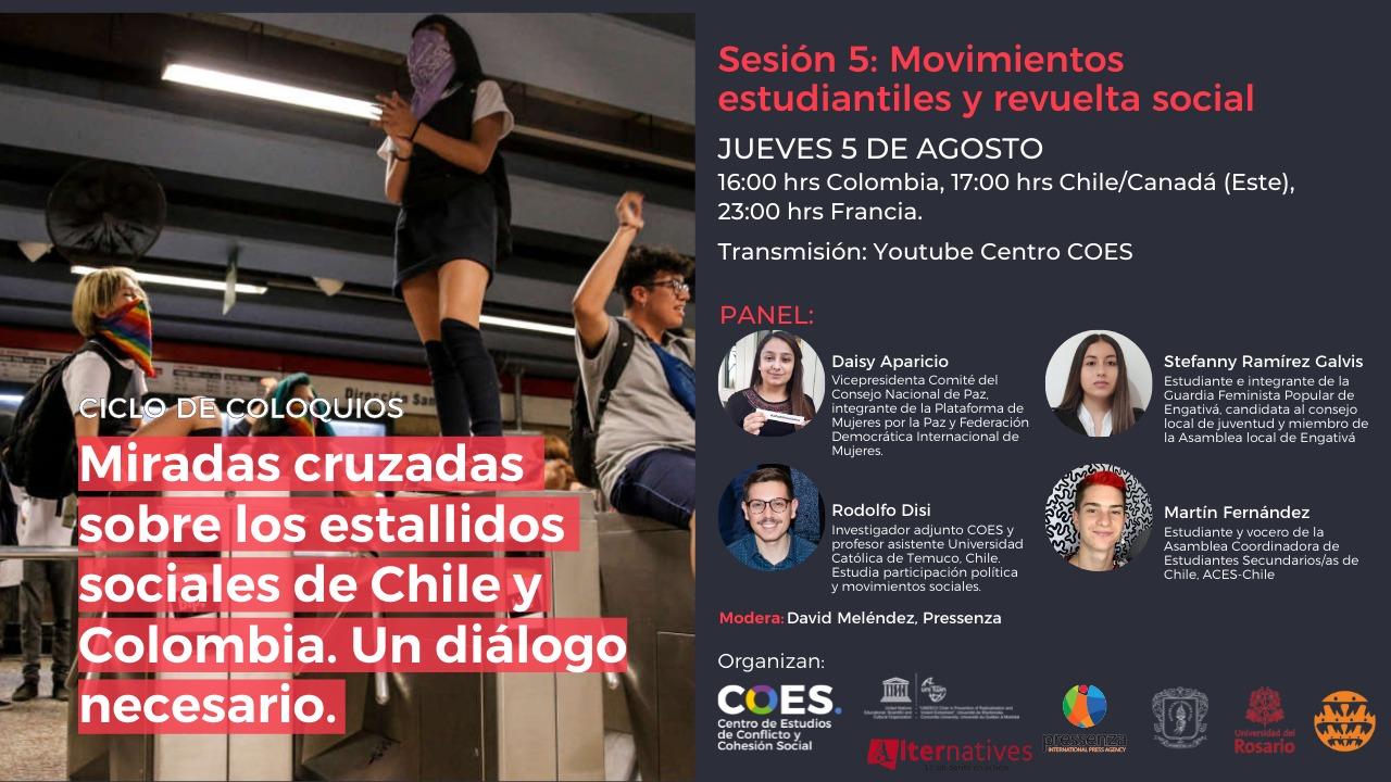 Quinto panel: miradas cruzadas sobre los estallidos sociales en Chile y Colombia
