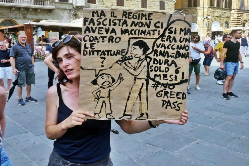 Firenze: manifestazione contro Green pass