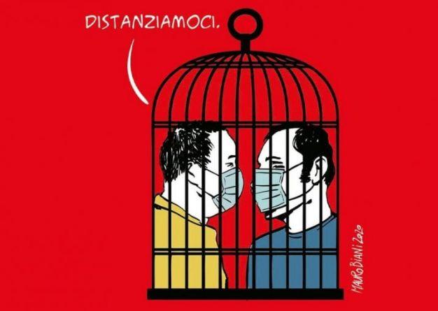 vignetta di Mauro Biani sul distanziamento