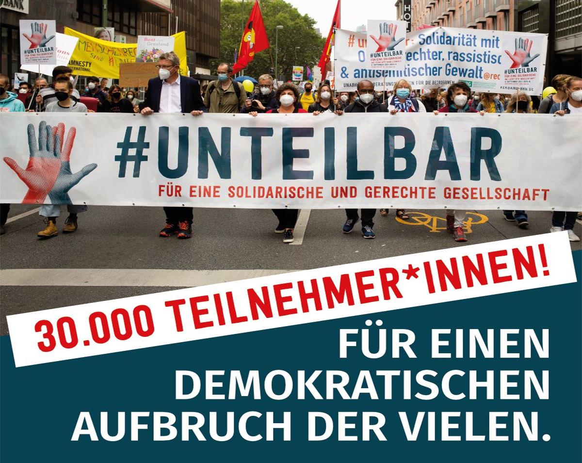#unteilbar - 30 000 Menschen setzen Zeichen für eine solidarische und gerechte Gesellschaft