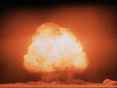 Mushroom cloud of 'Gadget' over Trinity, seconds after detonation