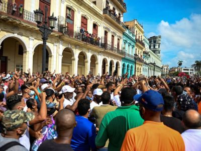 Protests in Cuba on 11 July 2021.