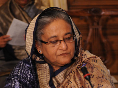 Sheikh Hasina, Prime Minister of Bangladesh at the Olympic hunger summit in Downing Street