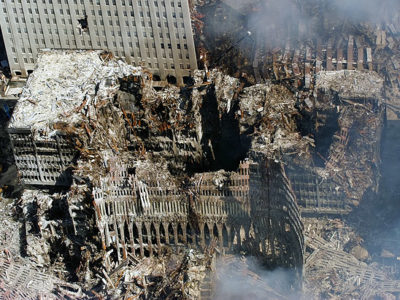 Ground Zero, New York City, N.Y. (Sept. 17, 2001) -- An aerial view shows a small portion of where the World Trade Center collapsed following the Sept. 11 terrorist attack. Surrounding buildings were heavily damaged by the debris and massive force of the falling twin towers.