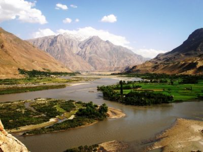 Beautiful view of Panj river, of the border between Afghanistan and Tajikistan the in Shughnon-shughnan region