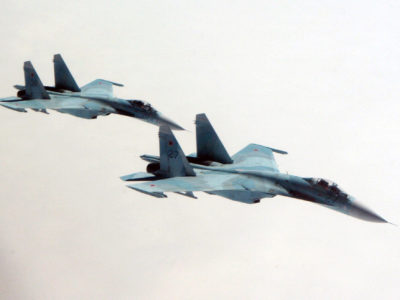 A pair of Russian Air Force Su-27 Flanker aircraft intercept a simulated hijacked Gulfstream G-400 (G-IV) aircraft during exercise Vigilant Eagle while flying over the Pacific Ocean Aug. 9, 2010. Vigilant Eagle is a joint exercise between the North American Aerospace Defense Command and the Russian Air Force. (U.S. Army photo by Maj. Mike Humphreys/Released)