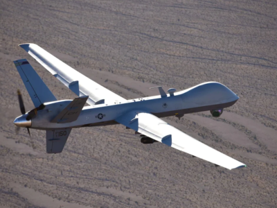 An MQ-9 Reaper flies a training mission over the Nevada Test and Training Range, July 15, 2019. MQ-9 aircrew provide dominant, persistent attack and reconnaissance for comabtant commanders and coalition partners across the globe.